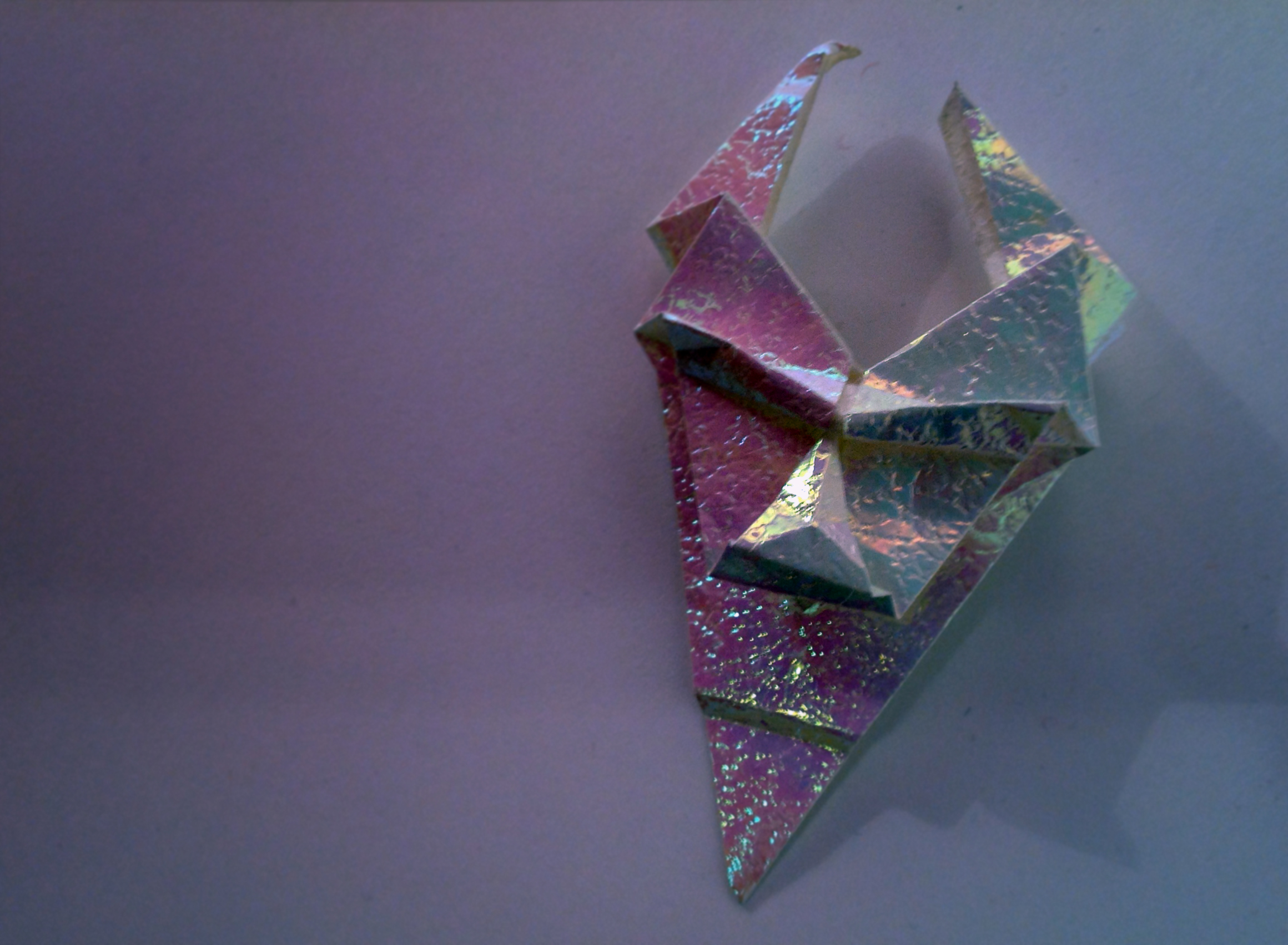 White Iridescent Origami Devil Mask by Carrie Gates