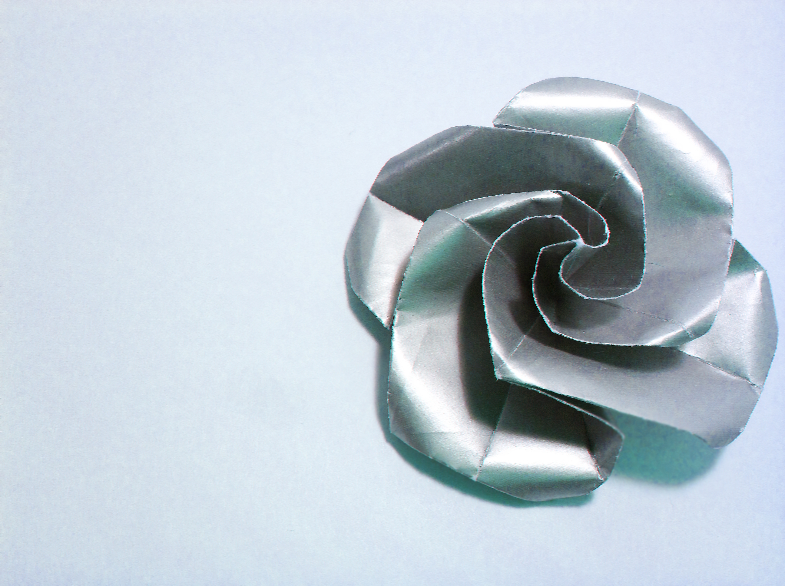 Silver Swirl Rose Origami by Carrie Gates